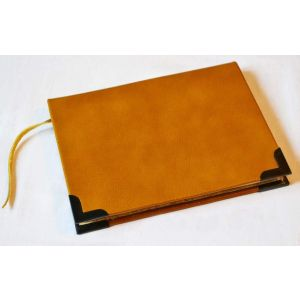 "Leather bound notebook ""Happy journey"""