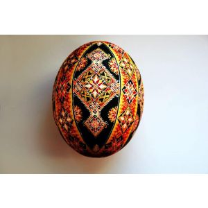 «Light» ostrich egg, pysanka (Easter egg)