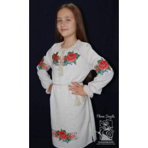 "Linen flower girl dress ""Summer blooms"""