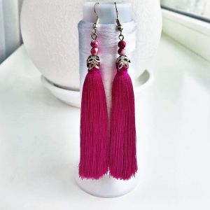 Long beaded tassel earrings with glass beeds