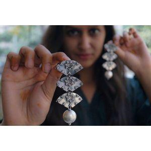 Long dangle silver earrings