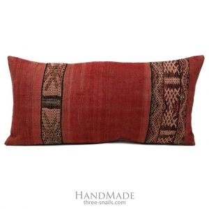 Long red pillow cover