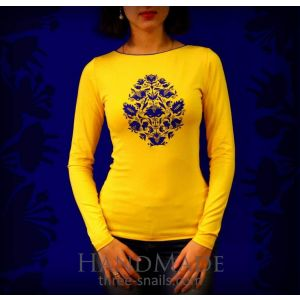 Long sleeve ladies t shirts. Yellow pullover «Baroque Tree»