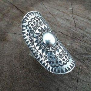 Long tribal silver ring