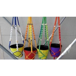 "Macrame flower pot hangers ""Rainbow"""