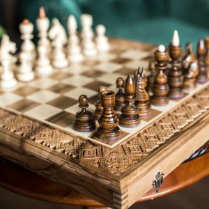 Large wood chess set 3 in 1 Сhess table board with storage Wooden chess board set Hand carved decorative chess Luxury chessboards