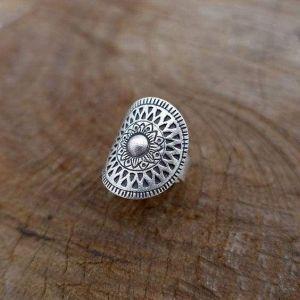 Mandala gray sterling silver ring