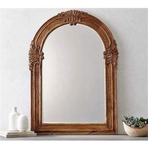Mango wood carved mirror