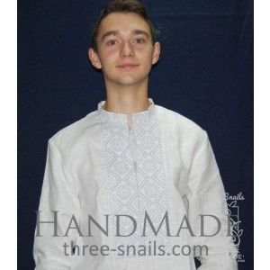"""Men linen shirt with embroidery """"Air"""""""