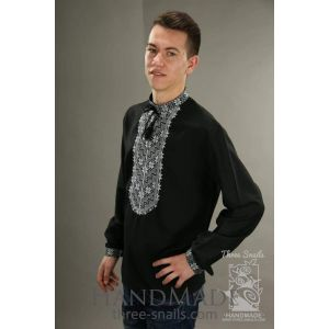 "Mens black linen shirt ""Eclipse"""