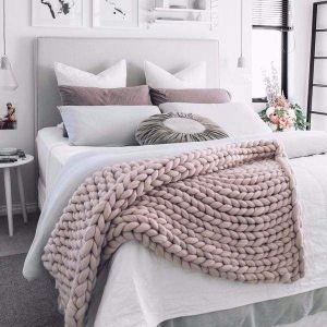 "Merino bed throw ""Pink powder"""