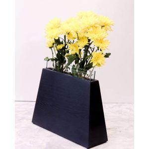 Modern geometric flower vase black