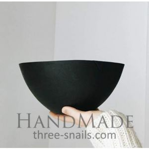 Modern large wooden bowl black