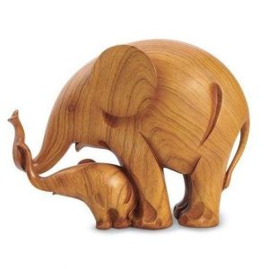 Mother and baby wood elephant sculpture
