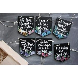 Motivational inscriptions mini sign décor set