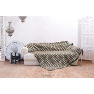 "Multicolored woven blanket for sofa ""Colorful stripes"""