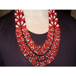 """Multistranded beaded necklace """"Zhuravel"""""""