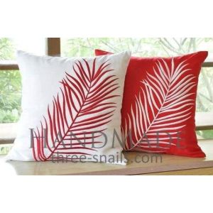 "Natural pillow cases ""Green leafs''"