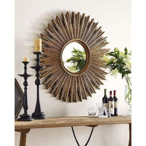 Natural wood round mirror