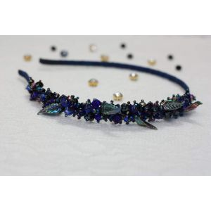 "Navy blue headband with beads ""Night sparkles"""