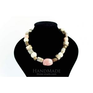 """Necklace and braceletset """"Pink and gray tenderness"""""""