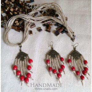 "Necklace and earrings set ""Paradise apples"""