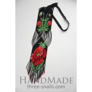 """Necklaces for women """"Red poppies in the night"""""""