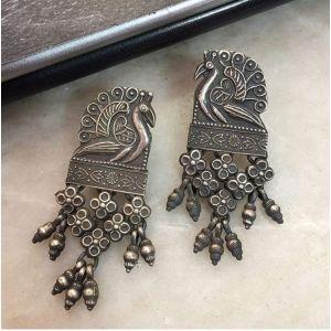 Oxidized Silver earrings peacocks