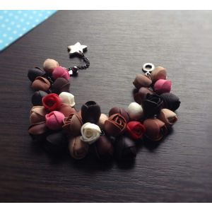 "Polymer clay bracelet ""Coffee rose"""