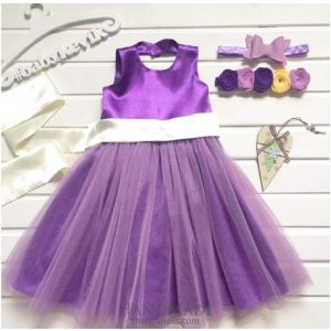 Purple flower girl dress