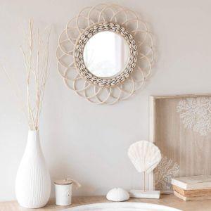 Rattan shell mirror