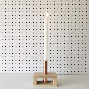 Reclaimed wood and copper candle stick