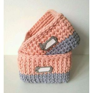 Rectangular crochet basket with handles
