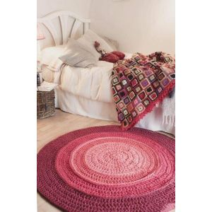 Red crochet area rug