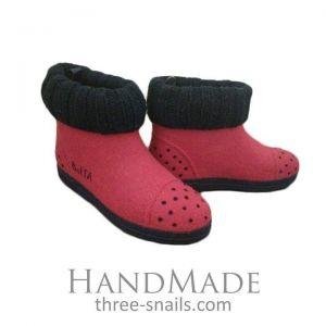 "Red felt boots ""Ladybug"""
