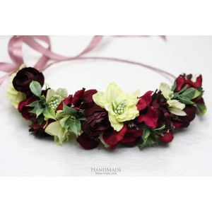 """Red floral hair halo """"Lime cocktail"""""""