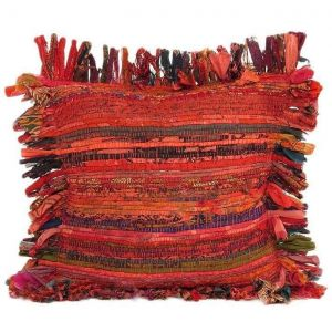 Red tribal pillow cover