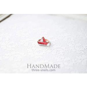 "Ring ""Boat"" red"