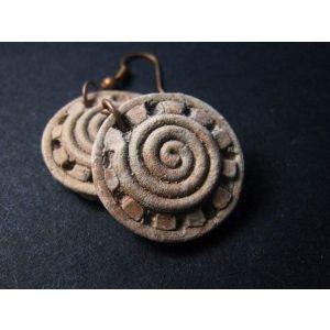 "Round ethnic earrings ""Tripilian sun"""