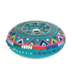 Round floor pillow blue