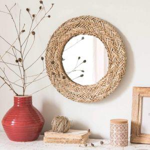 Round straw mirror