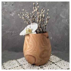 Round wooden vase