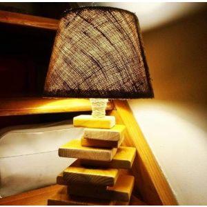 Rustic handmade wooden floor lamp