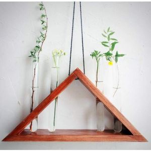 "Rustic hanging laboratory triangle vase ""City jungle"""