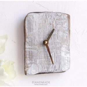 "Rustic wood wall clock small ""Time to act"""