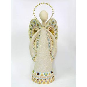 """Sculpture made of ceramics with amber """"Guardian Angel"""""""