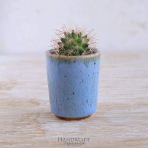 """Сeramic cactus pot """"Sky blue"""""""