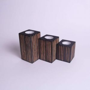 Set of 3 mango wood candle holders
