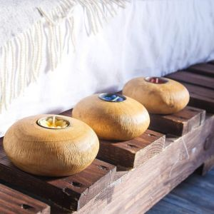 Set of 3 rustic mango wood candle holders