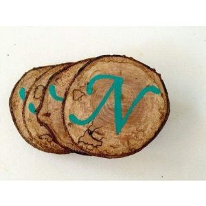 Set Of 4 Monogrammed Wood Coasters